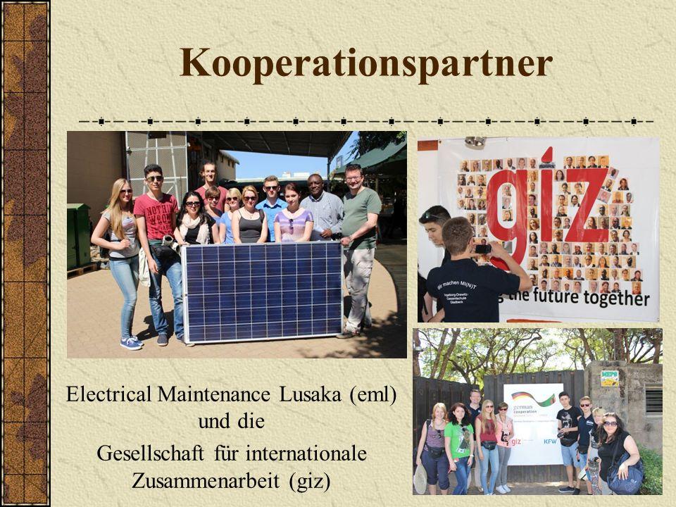 Kooperationspartner Electrical Maintenance Lusaka (eml) und die Gesellschaft für internationale Zusammenarbeit (giz)