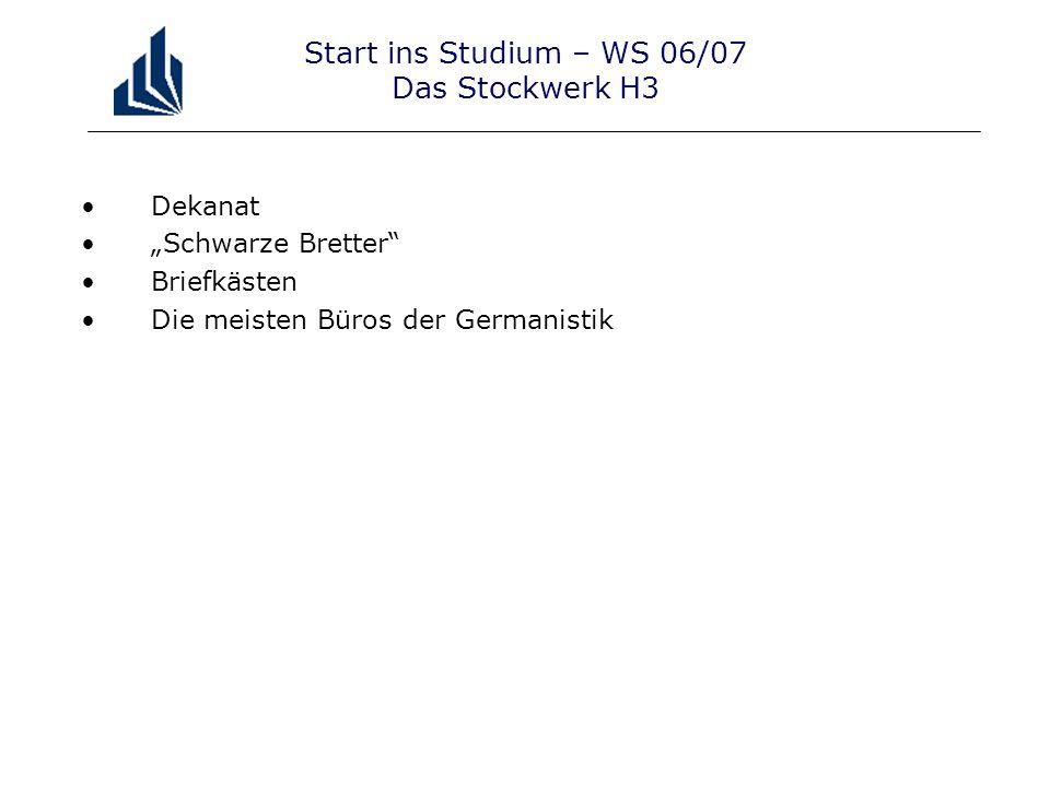 """Start ins Studium – WS 06/07 Das Stockwerk H3 Dekanat """"Schwarze Bretter Briefkästen Die meisten Büros der Germanistik"""