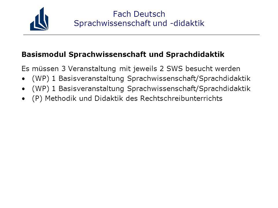 Fach Deutsch Sprachwissenschaft und -didaktik Basismodul Sprachwissenschaft und Sprachdidaktik Es müssen 3 Veranstaltung mit jeweils 2 SWS besucht werden (WP) 1 Basisveranstaltung Sprachwissenschaft/Sprachdidaktik (P) Methodik und Didaktik des Rechtschreibunterrichts