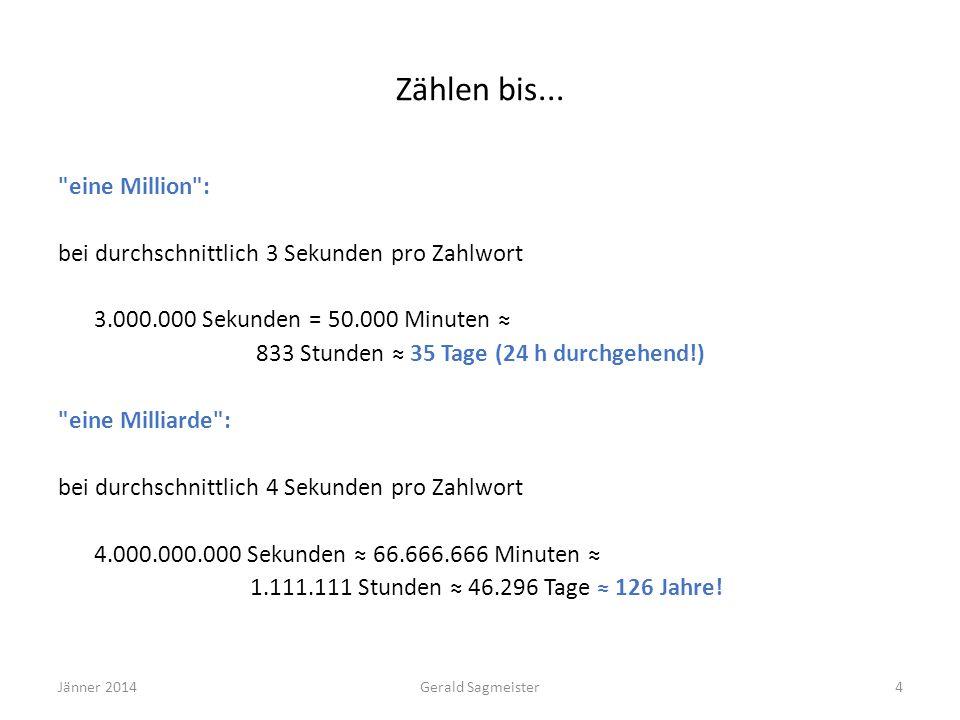 Jänner 2014Gerald Sagmeister15 Zahlenraumerweiterungen: Eine Gruppenarbeit zum Einstieg Ein Zeitungsbericht, erschienen in einer deutschen Tageszeitung (Quelle: Krauthausen 1998): In den Niederlanden (NL) leben ca.
