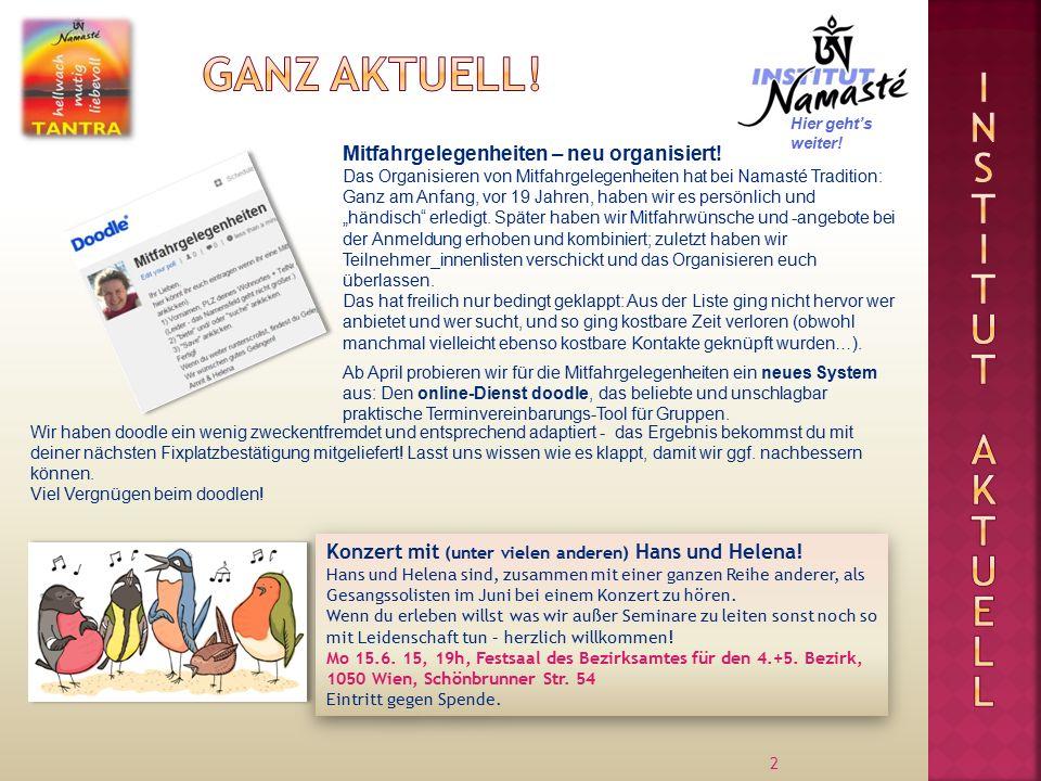 2 Mitfahrgelegenheiten – neu organisiert.