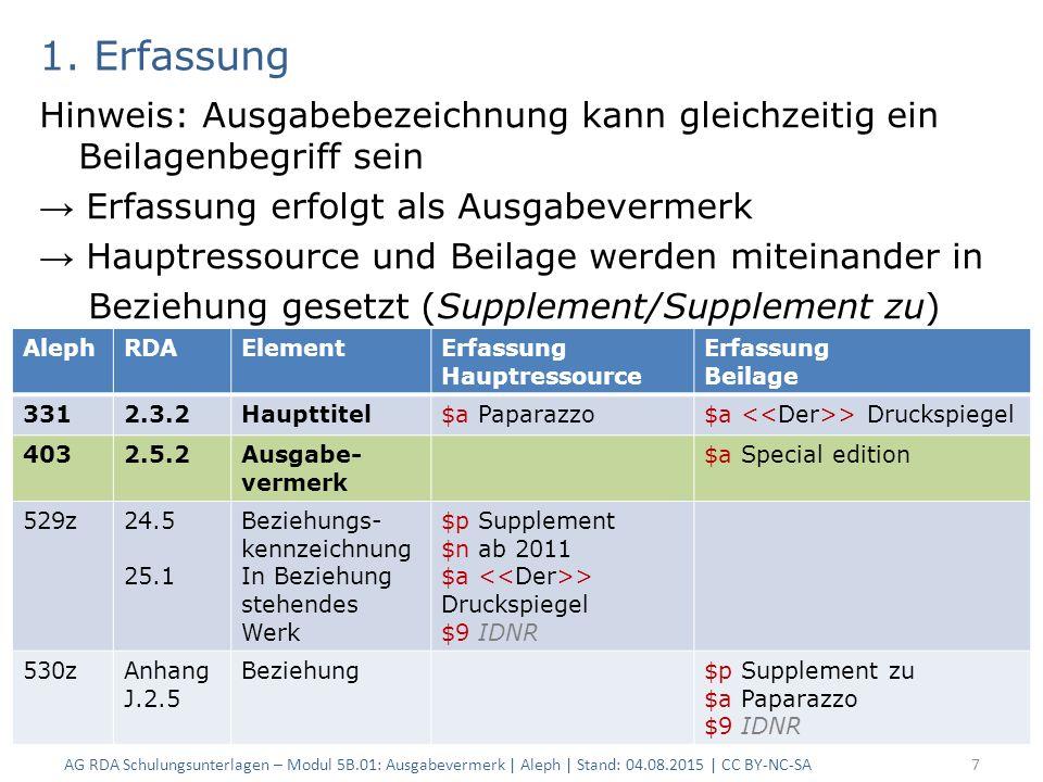 AG RDA Schulungsunterlagen – Modul 5B.08: Neue Beschreibungen | Aleph| Stand: 04.08.2015 | CC BY-NC-SA18 In ALEPH: Ausgabevermerk
