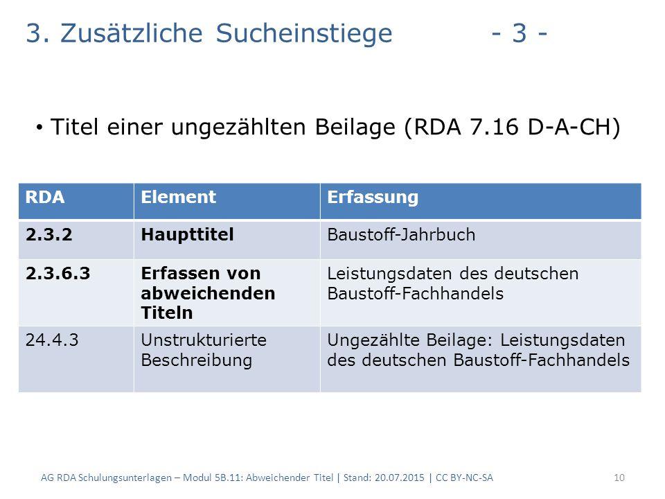AG RDA Schulungsunterlagen – Modul 5B.11: Abweichender Titel | Stand: 20.07.2015 | CC BY-NC-SA10 RDAElementErfassung 2.3.2HaupttitelBaustoff-Jahrbuch