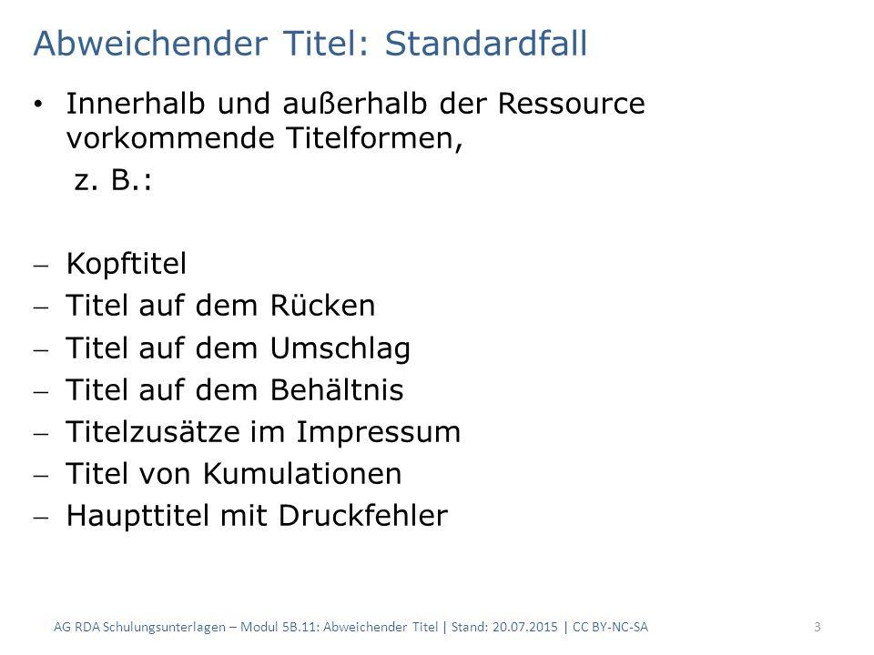 4 RDAElementErfassung 2.3.2HaupttitelMitteilungen der Handelskammer zu Köln 2.3.6.1Abweichender TitelMonatliche Mitteilungen der Handelskammer zu Köln 2.17.2Anmerkung zum TitelKopftitel Abweichender Titel: Standardfall Es wird immer ein Vortext erfasst Ist der abweichende Titel während des gesamten Zeitraums gültig, wird auf die Angabe der Geltungsdauer verzichtet RDAElementErfassung 2.3.2HaupttitelMiteinander 2.3.6.1Abweichender TitelWerkzeitschrift der deutschen ALUSuisse-Gruppe 2.17.2Anmerkung zum TitelAbweichender Titel früher