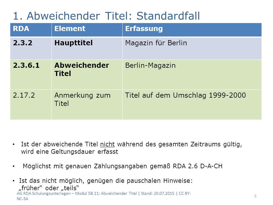 AG RDA Schulungsunterlagen – Modul 5B.11: Abweichender Titel | Stand: 20.07.2015 | CC BY- NC-SA 5 RDAElementErfassung 2.3.2HaupttitelMagazin für Berli