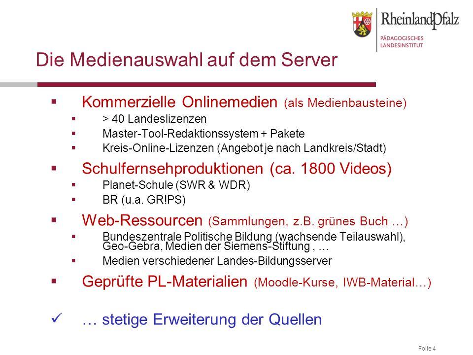 Folie 4 Die Medienauswahl auf dem Server  Kommerzielle Onlinemedien (als Medienbausteine)  > 40 Landeslizenzen  Master-Tool-Redaktionssystem + Pakete  Kreis-Online-Lizenzen (Angebot je nach Landkreis/Stadt)  Schulfernsehproduktionen (ca.