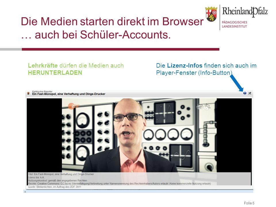 Folie 5 Die Medien starten direkt im Browser … auch bei Schüler-Accounts.