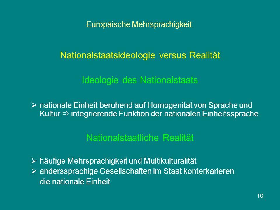 10 Europäische Mehrsprachigkeit Nationalstaatsideologie versus Realität Ideologie des Nationalstaats  nationale Einheit beruhend auf Homogenität von Sprache und Kultur  integrierende Funktion der nationalen Einheitssprache Nationalstaatliche Realität  häufige Mehrsprachigkeit und Multikulturalität  anderssprachige Gesellschaften im Staat konterkarieren die nationale Einheit