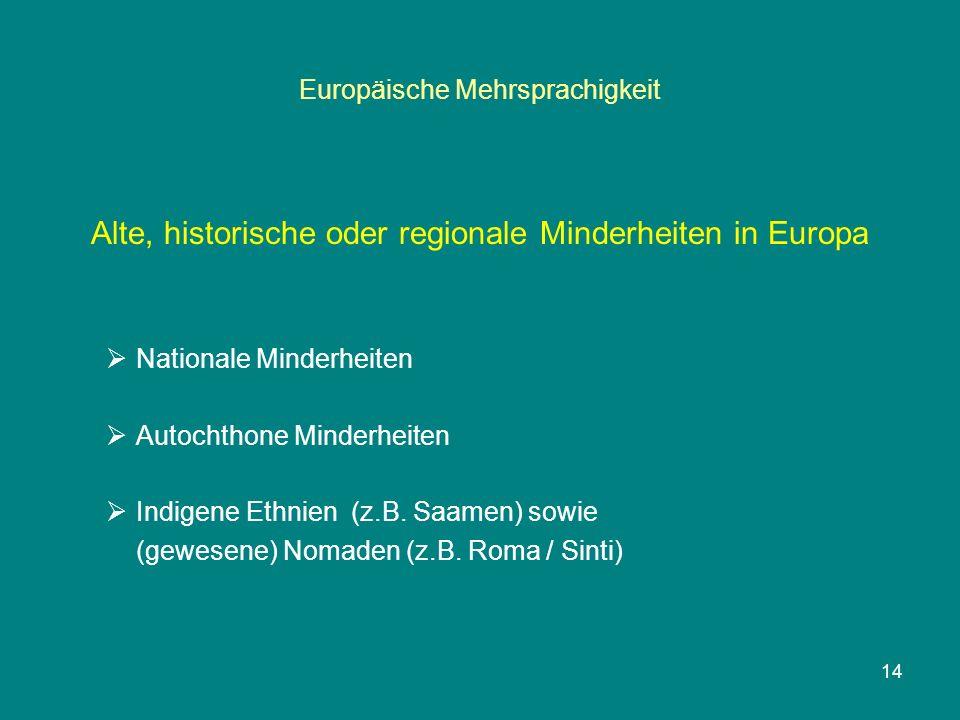 Europäische Mehrsprachigkeit Alte, historische oder regionale Minderheiten in Europa  Nationale Minderheiten  Autochthone Minderheiten  Indigene Ethnien (z.B.