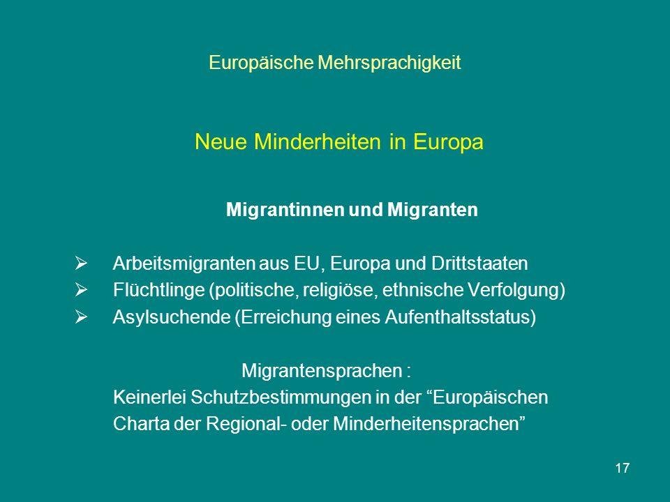 17 Europäische Mehrsprachigkeit Neue Minderheiten in Europa Migrantinnen und Migranten  Arbeitsmigranten aus EU, Europa und Drittstaaten  Flüchtlinge (politische, religiöse, ethnische Verfolgung)  Asylsuchende (Erreichung eines Aufenthaltsstatus) Migrantensprachen : Keinerlei Schutzbestimmungen in der Europäischen Charta der Regional- oder Minderheitensprachen