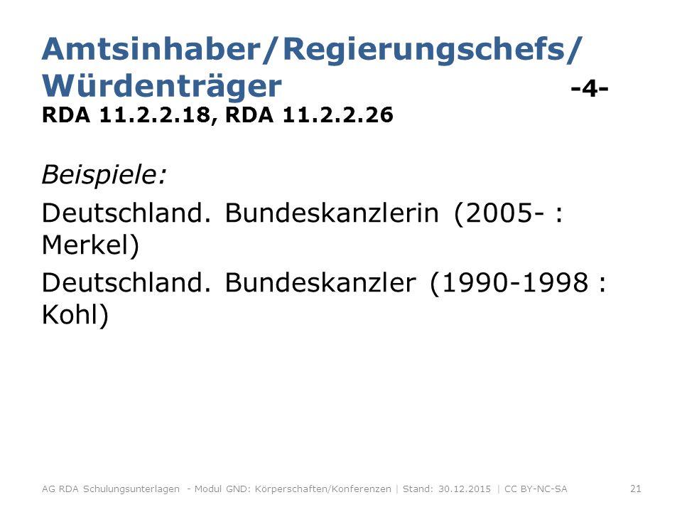 Amtsinhaber/Regierungschefs/ Würdenträger -4- RDA 11.2.2.18, RDA 11.2.2.26 Beispiele: Deutschland.