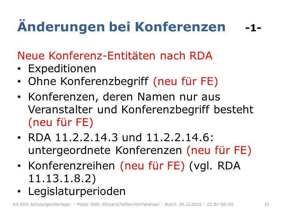 Änderungen bei Konferenzen -1- Neue Konferenz-Entitäten nach RDA Expeditionen Ohne Konferenzbegriff (neu für FE) Konferenzen, deren Namen nur aus Veranstalter und Konferenzbegriff besteht (neu für FE) RDA 11.2.2.14.3 und 11.2.2.14.6: untergeordnete Konferenzen (neu für FE) Konferenzreihen (neu für FE) (vgl.