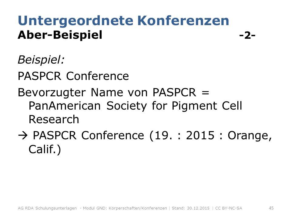 Untergeordnete Konferenzen Aber-Beispiel -2- Beispiel: PASPCR Conference Bevorzugter Name von PASPCR = PanAmerican Society for Pigment Cell Research  PASPCR Conference (19.