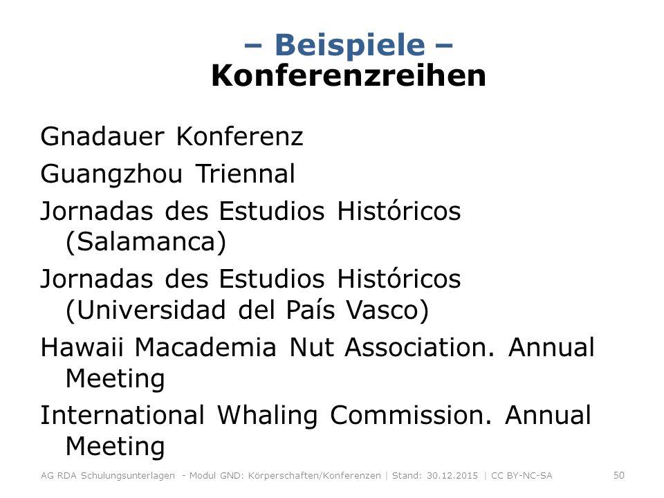– Beispiele – Konferenzreihen Gnadauer Konferenz Guangzhou Triennal Jornadas des Estudios Históricos (Salamanca) Jornadas des Estudios Históricos (Universidad del País Vasco) Hawaii Macademia Nut Association.