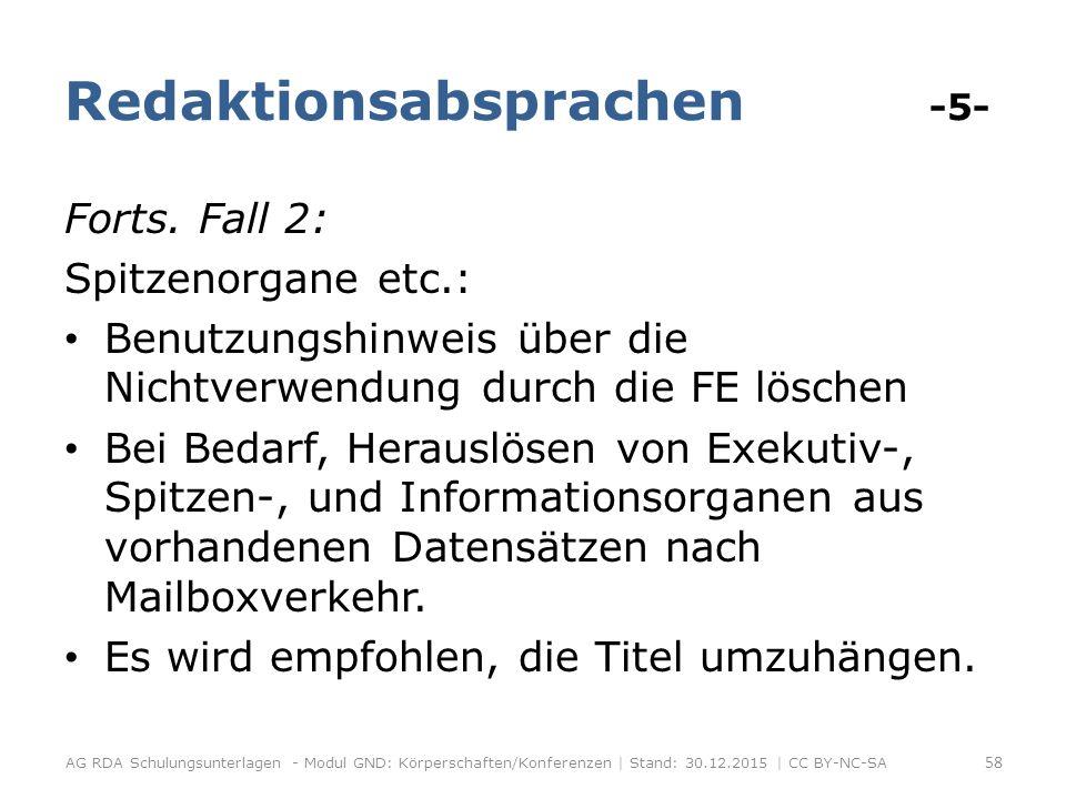 Redaktionsabsprachen -5- Forts.