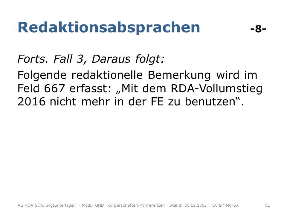 Redaktionsabsprachen -8- Forts.