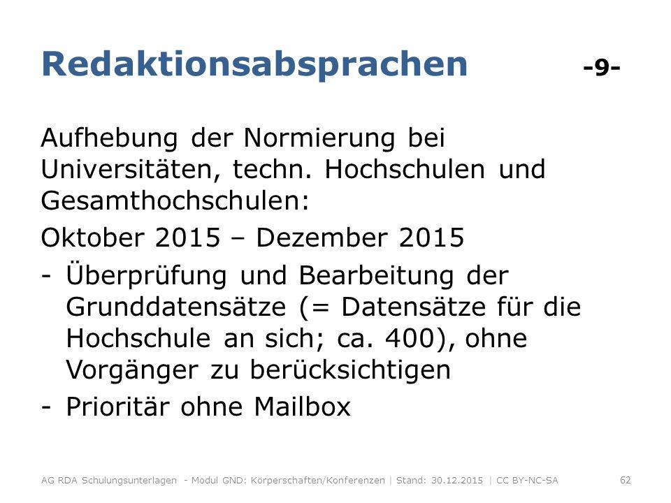 Redaktionsabsprachen -9- Aufhebung der Normierung bei Universitäten, techn.
