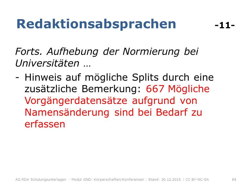 Redaktionsabsprachen -11- Forts.