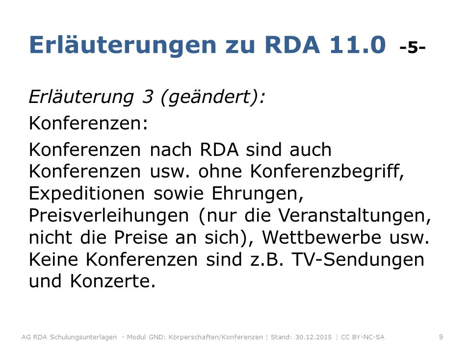 Untergeordnete Konferenzen Erläuterung zu RDA 11.2.2.14.6 -2- Forts.