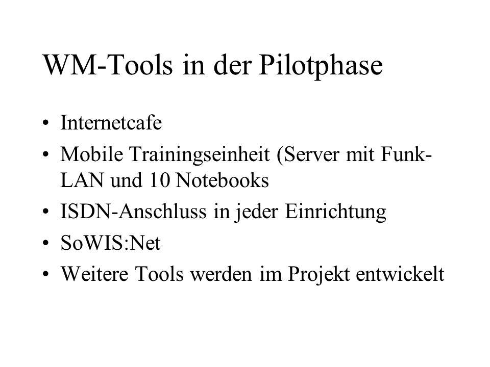 WM-Tools in der Pilotphase Internetcafe Mobile Trainingseinheit (Server mit Funk- LAN und 10 Notebooks ISDN-Anschluss in jeder Einrichtung SoWIS:Net Weitere Tools werden im Projekt entwickelt