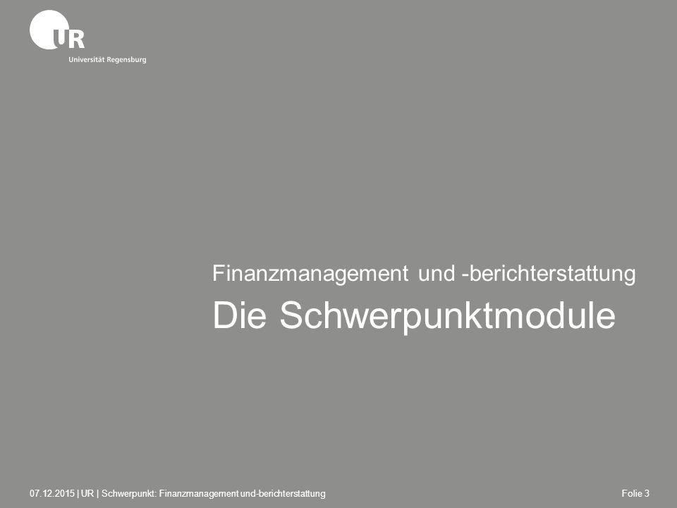 Die Schwerpunktmodule Finanzmanagement und -berichterstattung 07.12.2015 | UR | Schwerpunkt: Finanzmanagement und-berichterstattungFolie 3