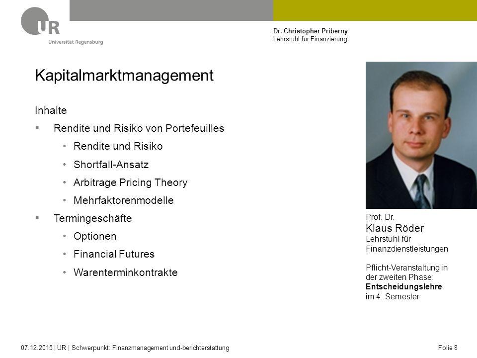 Dr. Christopher Priberny Lehrstuhl für Finanzierung Kapitalmarktmanagement Inhalte  Rendite und Risiko von Portefeuilles Rendite und Risiko Shortfall