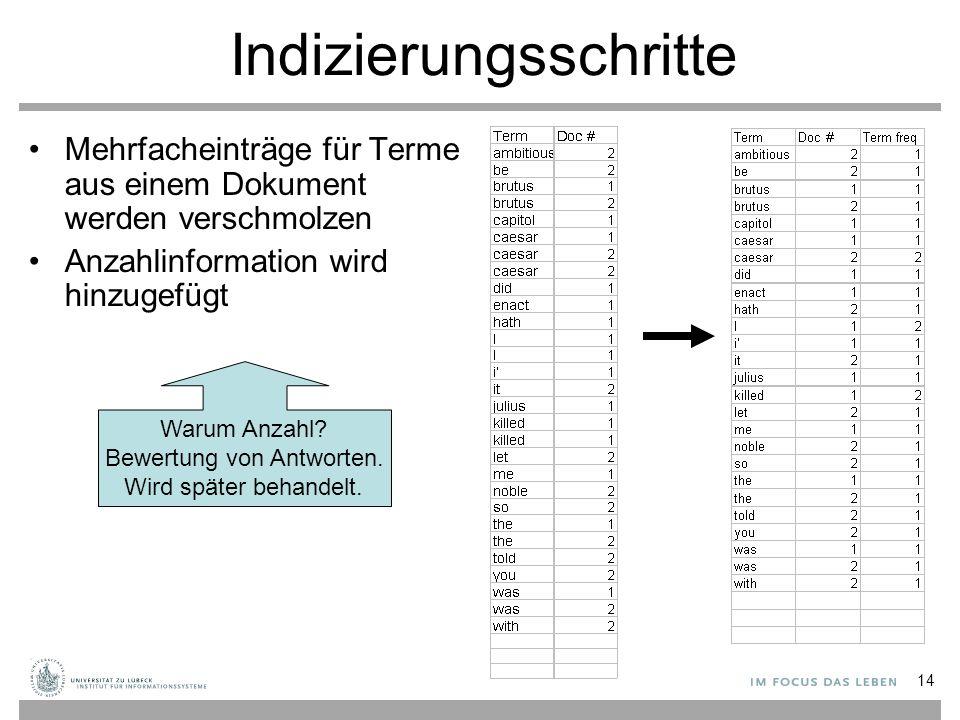 14 Mehrfacheinträge für Terme aus einem Dokument werden verschmolzen Anzahlinformation wird hinzugefügt Warum Anzahl? Bewertung von Antworten. Wird sp