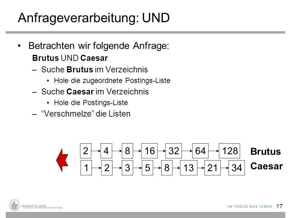 17 Anfrageverarbeitung: UND Betrachten wir folgende Anfrage: Brutus UND Caesar –Suche Brutus im Verzeichnis Hole die zugeordnete Postings-Liste –Suche