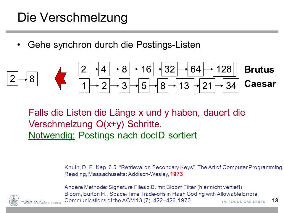 18 34 12824816 3264 12 3 581321 Die Verschmelzung Gehe synchron durch die Postings-Listen 128 34 248163264123581321 Brutus Caesar 2 8 Falls die Listen die Länge x und y haben, dauert die Verschmelzung O(x+y) Schritte.