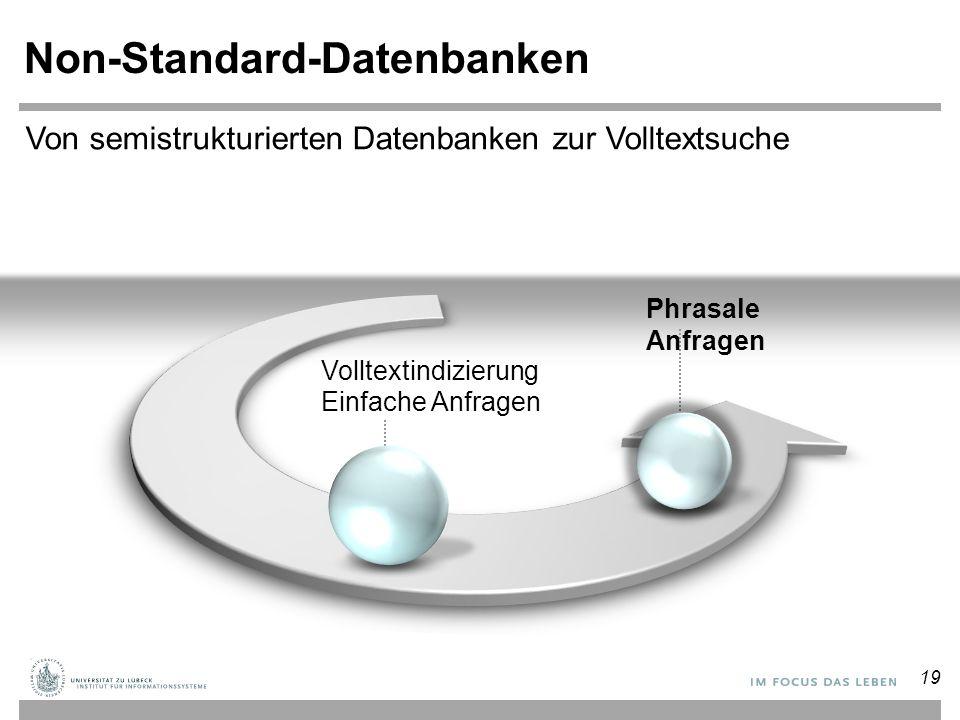 Non-Standard-Datenbanken Volltextindizierung Einfache Anfragen Phrasale Anfragen Von semistrukturierten Datenbanken zur Volltextsuche 19