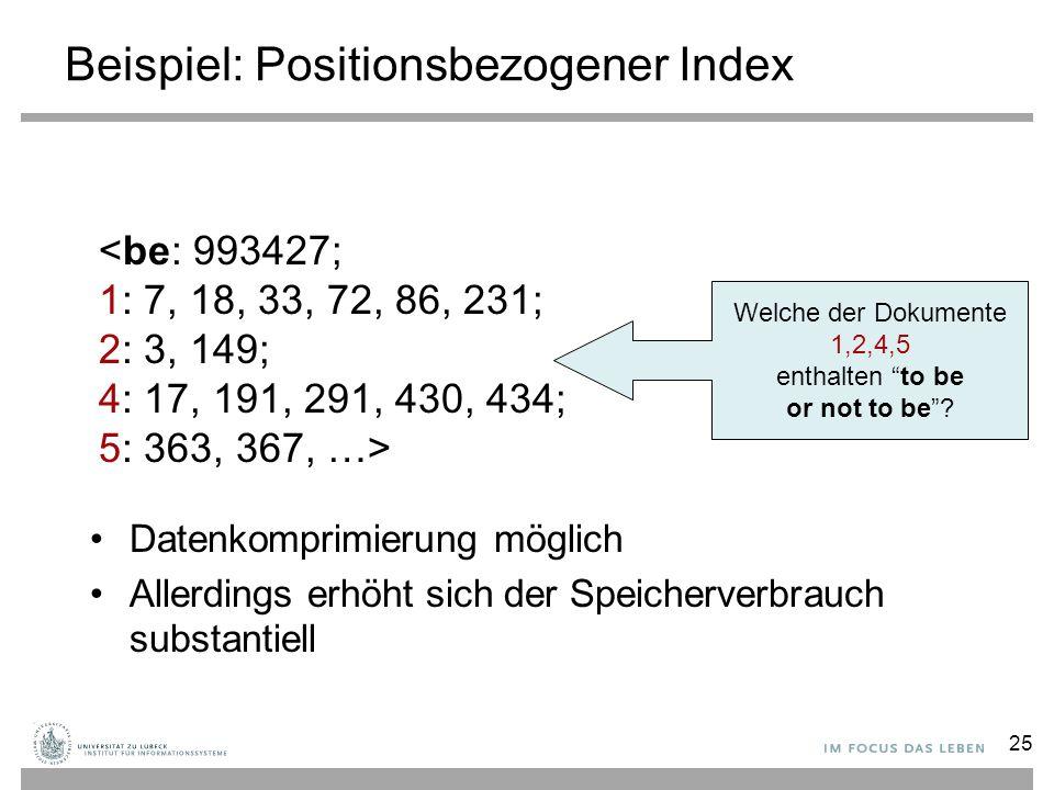 Beispiel: Positionsbezogener Index Datenkomprimierung möglich Allerdings erhöht sich der Speicherverbrauch substantiell <be: 993427; 1: 7, 18, 33, 72,