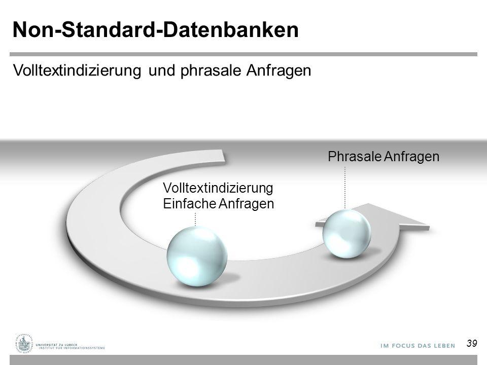Non-Standard-Datenbanken Volltextindizierung Einfache Anfragen Phrasale Anfragen Volltextindizierung und phrasale Anfragen 39