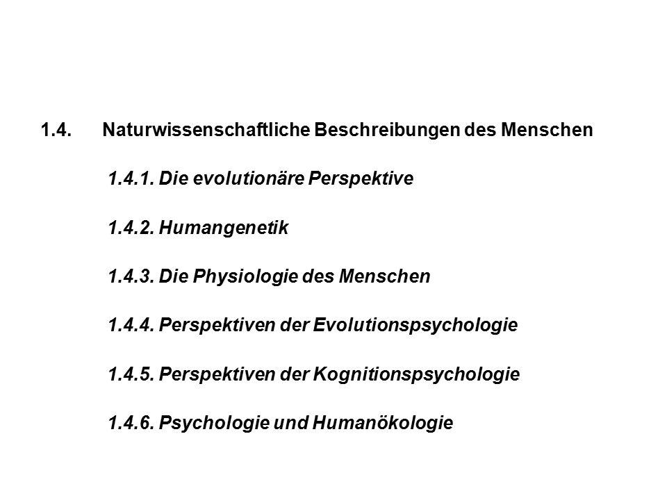 1.4. Naturwissenschaftliche Beschreibungen des Menschen 1.4.1. Die evolutionäre Perspektive 1.4.2. Humangenetik 1.4.3. Die Physiologie des Menschen 1.