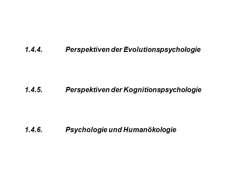1.4.4. Perspektiven der Evolutionspsychologie 1.4.5. Perspektiven der Kognitionspsychologie 1.4.6. Psychologie und Humanökologie
