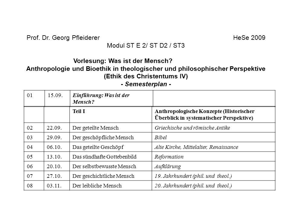Prof. Dr. Georg Pfleiderer HeSe 2009 Modul ST E 2/ ST D2 / ST3 Vorlesung: Was ist der Mensch? Anthropologie und Bioethik in theologischer und philosop