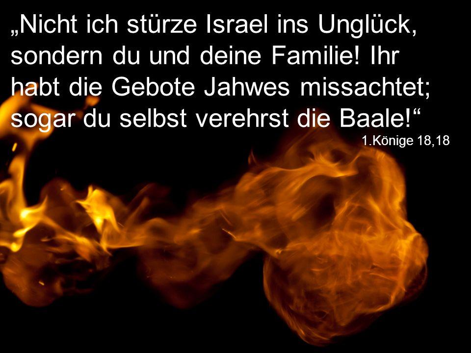 """1.Könige 18,18 """"Nicht ich stürze Israel ins Unglück, sondern du und deine Familie! Ihr habt die Gebote Jahwes missachtet; sogar du selbst verehrst die"""