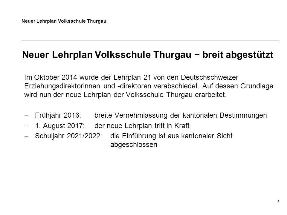 Neuer Lehrplan Volksschule Thurgau 5 Neuer Lehrplan Volksschule Thurgau − breit abgestützt Im Oktober 2014 wurde der Lehrplan 21 von den Deutschschweizer Erziehungsdirektorinnen und -direktoren verabschiedet.
