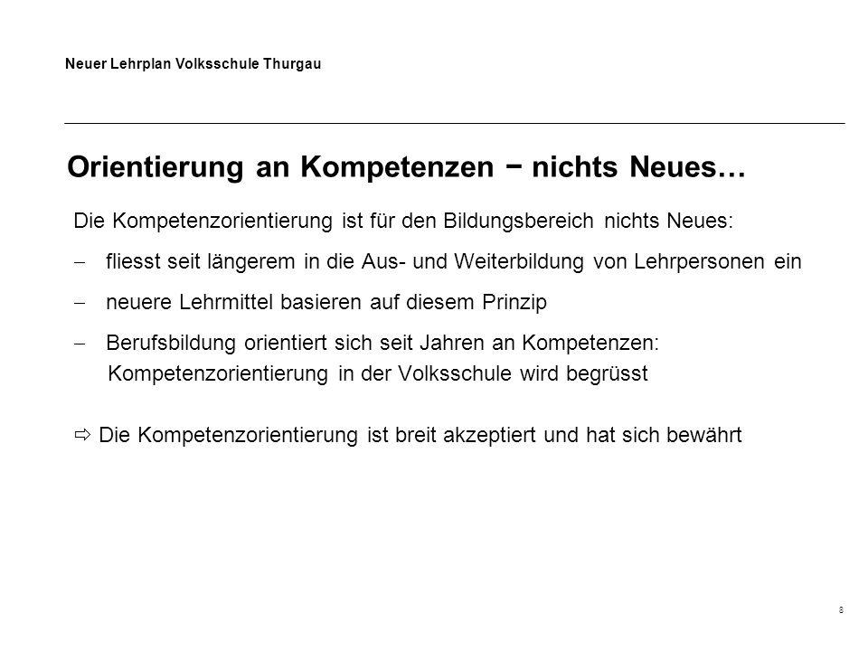 Neuer Lehrplan Volksschule Thurgau 8 Orientierung an Kompetenzen − nichts Neues… Die Kompetenzorientierung ist für den Bildungsbereich nichts Neues:  fliesst seit längerem in die Aus- und Weiterbildung von Lehrpersonen ein  neuere Lehrmittel basieren auf diesem Prinzip  Berufsbildung orientiert sich seit Jahren an Kompetenzen: Kompetenzorientierung in der Volksschule wird begrüsst  Die Kompetenzorientierung ist breit akzeptiert und hat sich bewährt
