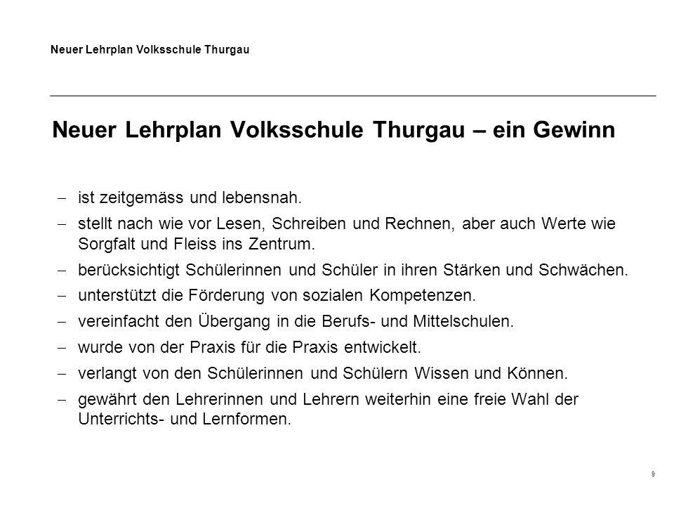 Neuer Lehrplan Volksschule Thurgau 9 Neuer Lehrplan Volksschule Thurgau – ein Gewinn  ist zeitgemäss und lebensnah.