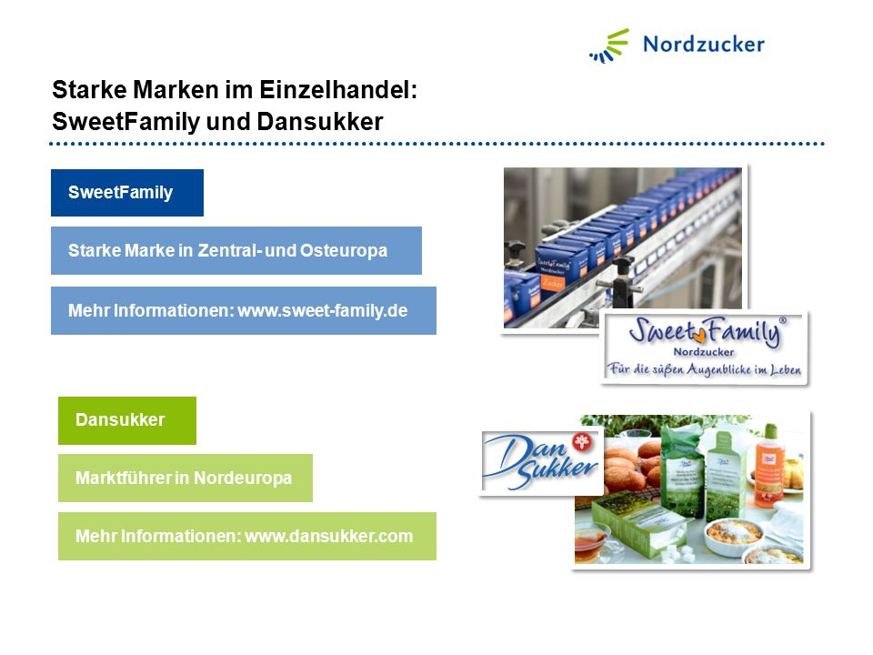 SweetFamily Mehr Informationen: www.dansukker.com Starke Marke in Zentral- und Osteuropa Mehr Informationen: www.sweet-family.de Dansukker Marktführer