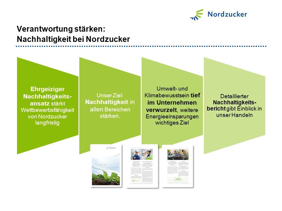 Ehrgeiziger Nachhaltigkeits- ansatz stärkt Wettbewerbsfähigkeit von Nordzucker langfristig Unser Ziel: Nachhaltigkeit in allen Bereichen stärken.
