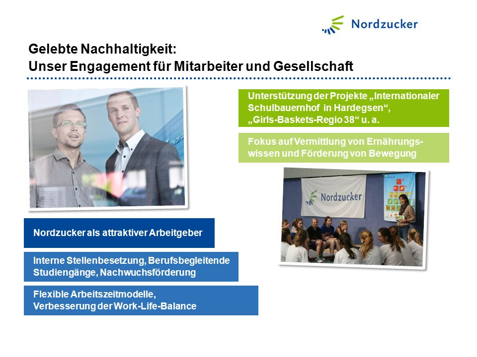 """Nordzucker als attraktiver Arbeitgeber Unterstützung der Projekte """"Internationaler Schulbauernhof in Hardegsen , """"Girls-Baskets-Regio 38 u."""