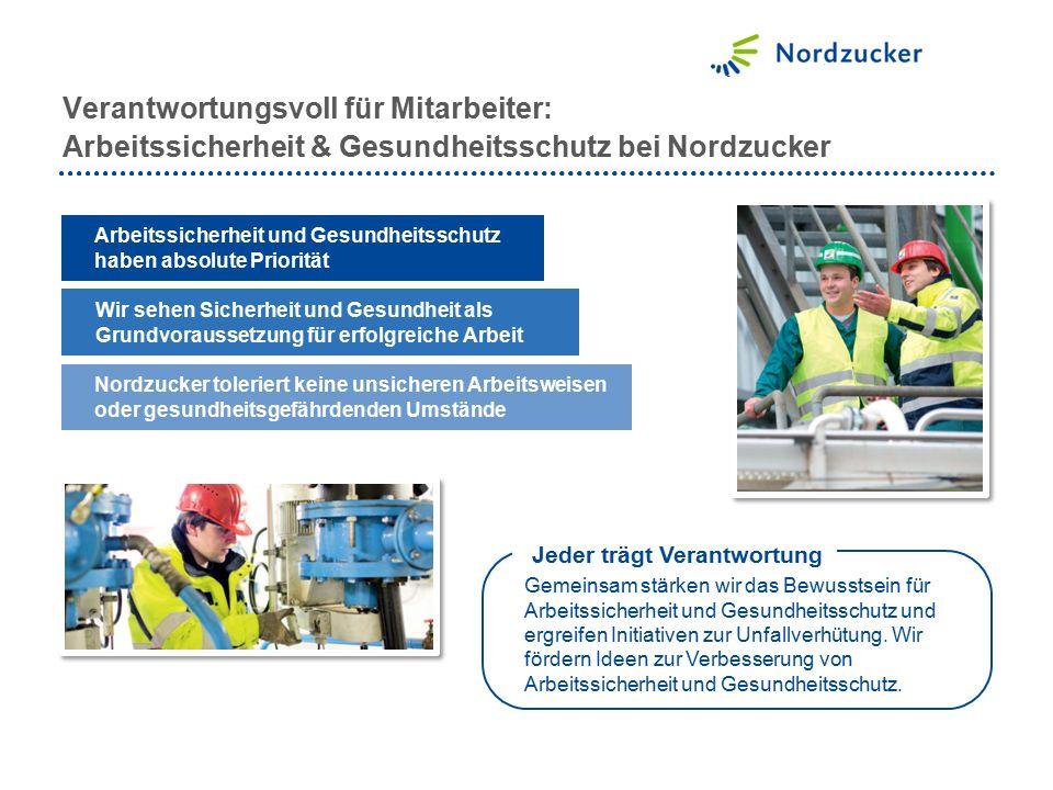 Verantwortungsvoll für Mitarbeiter: Arbeitssicherheit & Gesundheitsschutz bei Nordzucker Arbeitssicherheit und Gesundheitsschutz haben absolute Priori