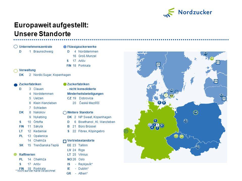 Europaweit aufgestellt: Unsere Standorte Unternehmenszentrale Flüssigzuckerwerke D1Braunschweig D4Nordstemmen 16Groß Munzel S17 Arlöv FIN18Porkkala Ve