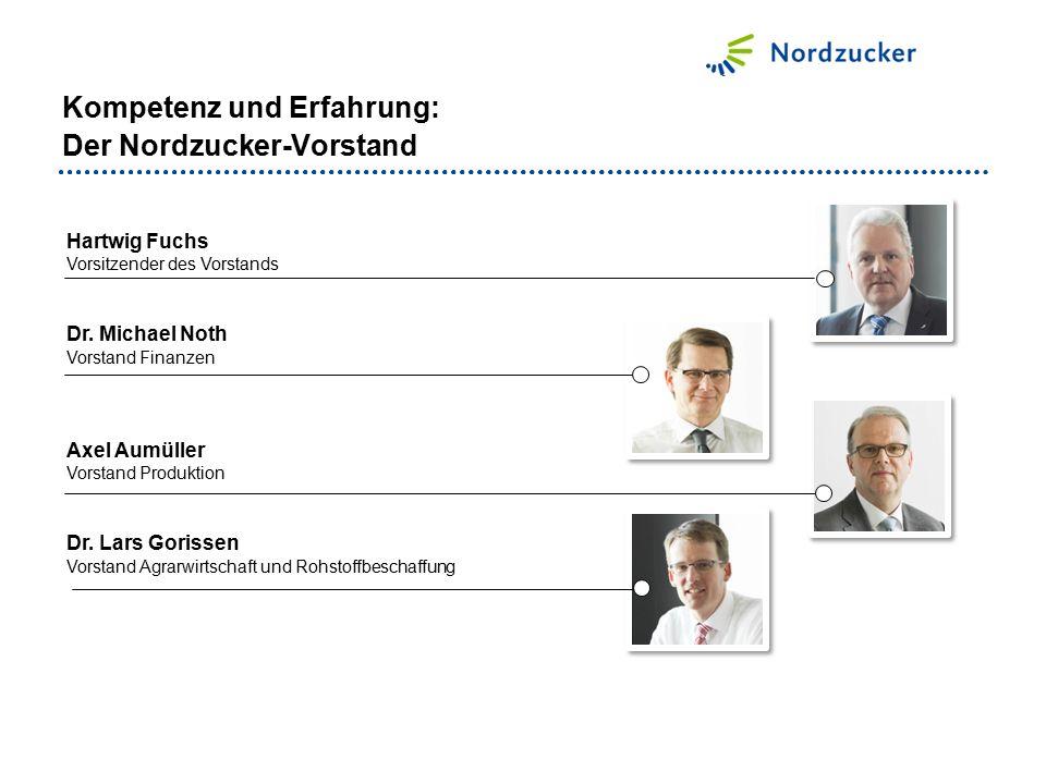 Kompetenz und Erfahrung: Der Nordzucker-Vorstand Hartwig Fuchs Vorsitzender des Vorstands Dr. Michael Noth Vorstand Finanzen Axel Aumüller Vorstand Pr
