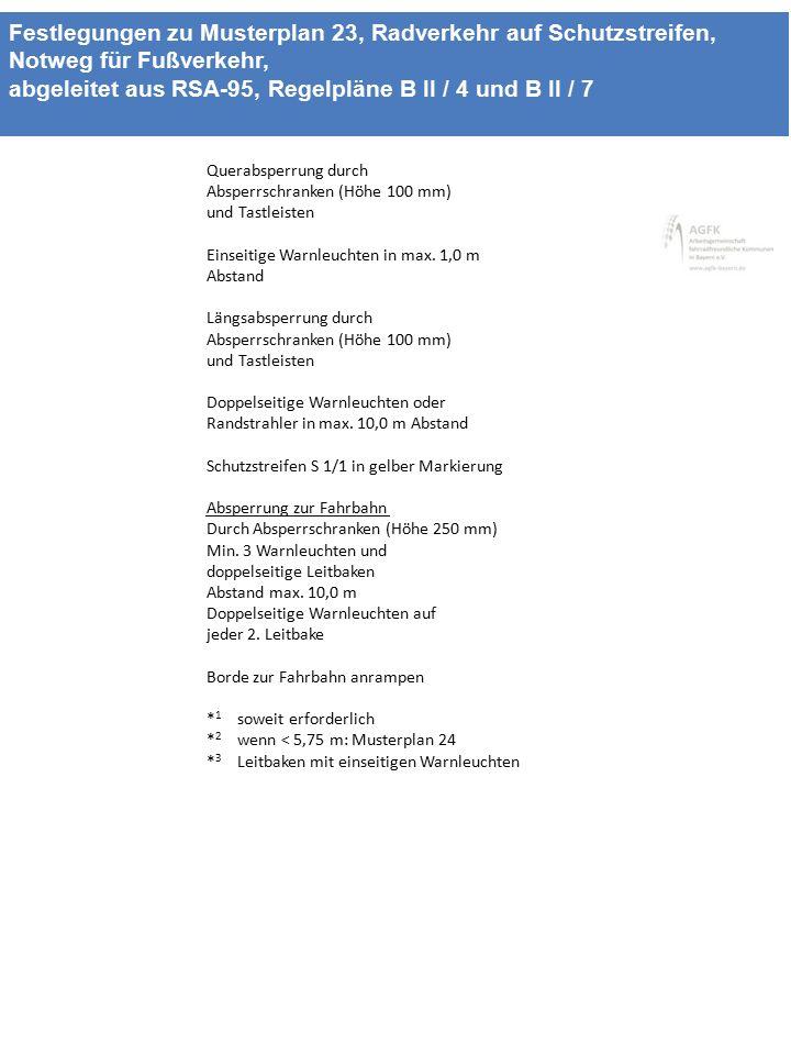 Festlegungen zu Musterplan 23, Radverkehr auf Schutzstreifen, Notweg für Fußverkehr, abgeleitet aus RSA-95, Regelpläne B II / 4 und B II / 7 Querabspe