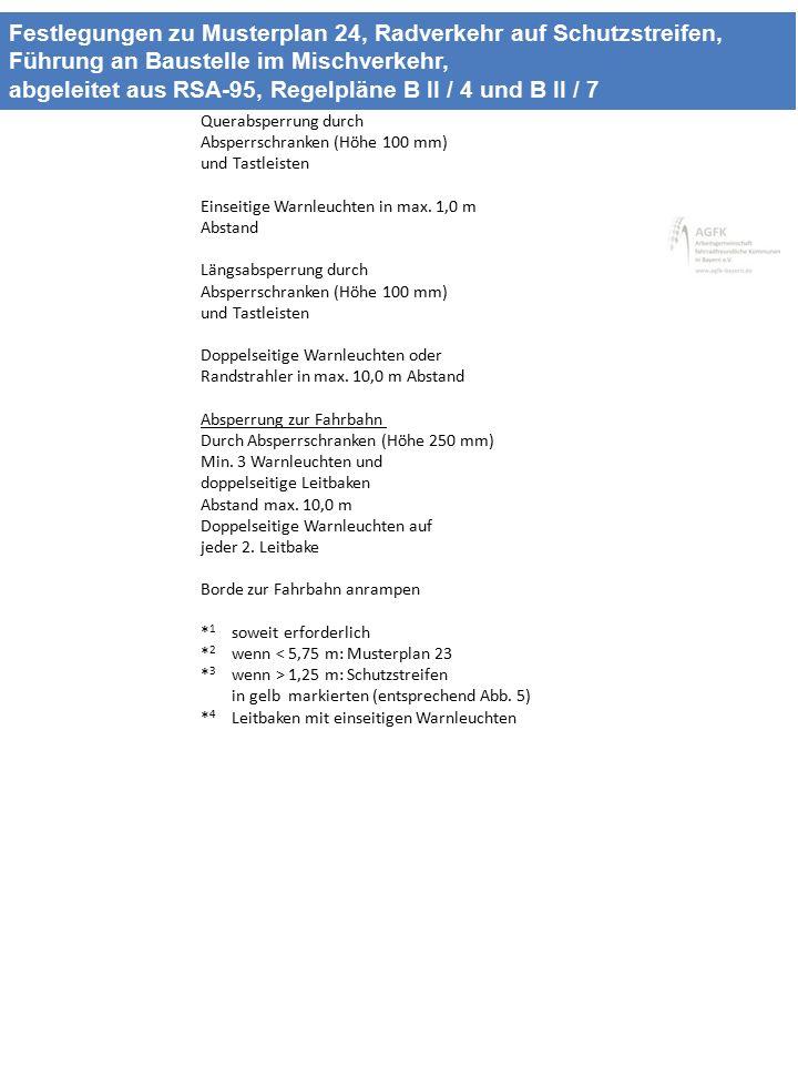 Festlegungen zu Musterplan 24, Radverkehr auf Schutzstreifen, Führung an Baustelle im Mischverkehr, abgeleitet aus RSA-95, Regelpläne B II / 4 und B I