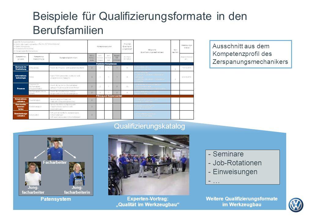 Beispiele für Qualifizierungsformate in den Berufsfamilien Qualifizierungskatalog Ausschnitt aus dem Kompetenzprofil des Zerspanungsmechanikers Expert