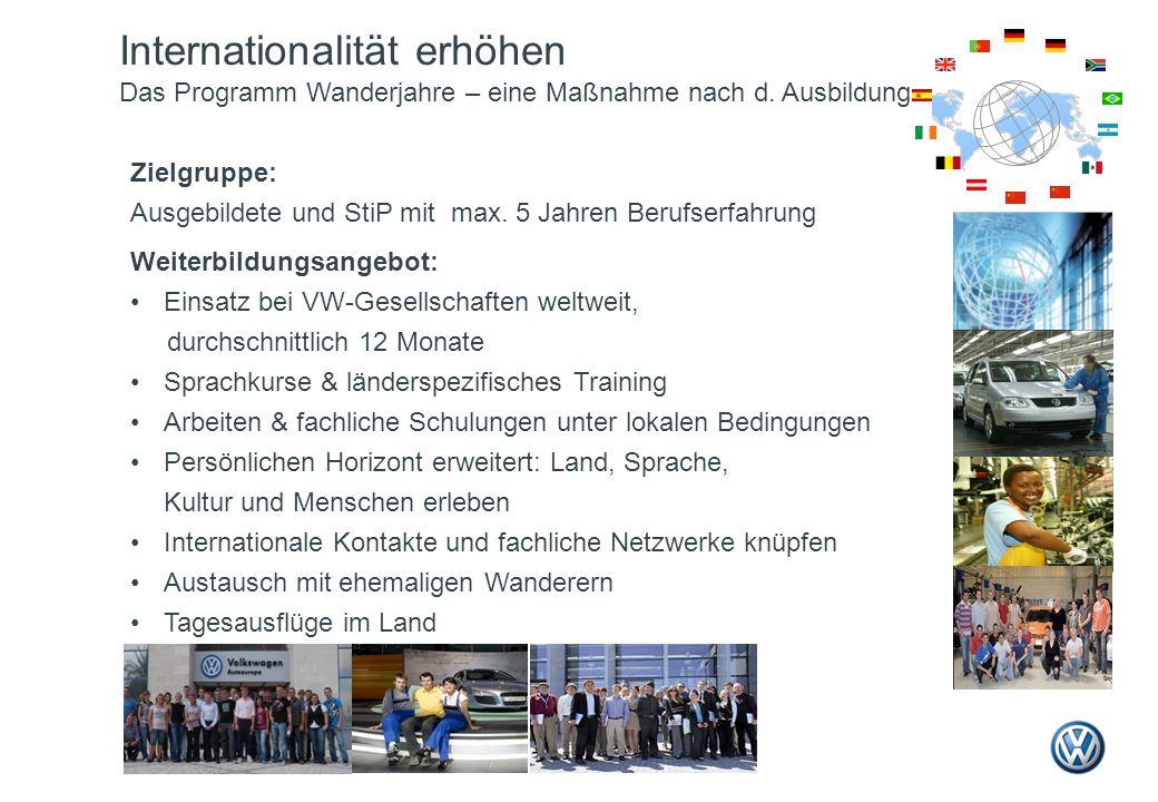 Zielgruppe: Ausgebildete und StiP mit max. 5 Jahren Berufserfahrung Weiterbildungsangebot: Einsatz bei VW-Gesellschaften weltweit, durchschnittlich 12
