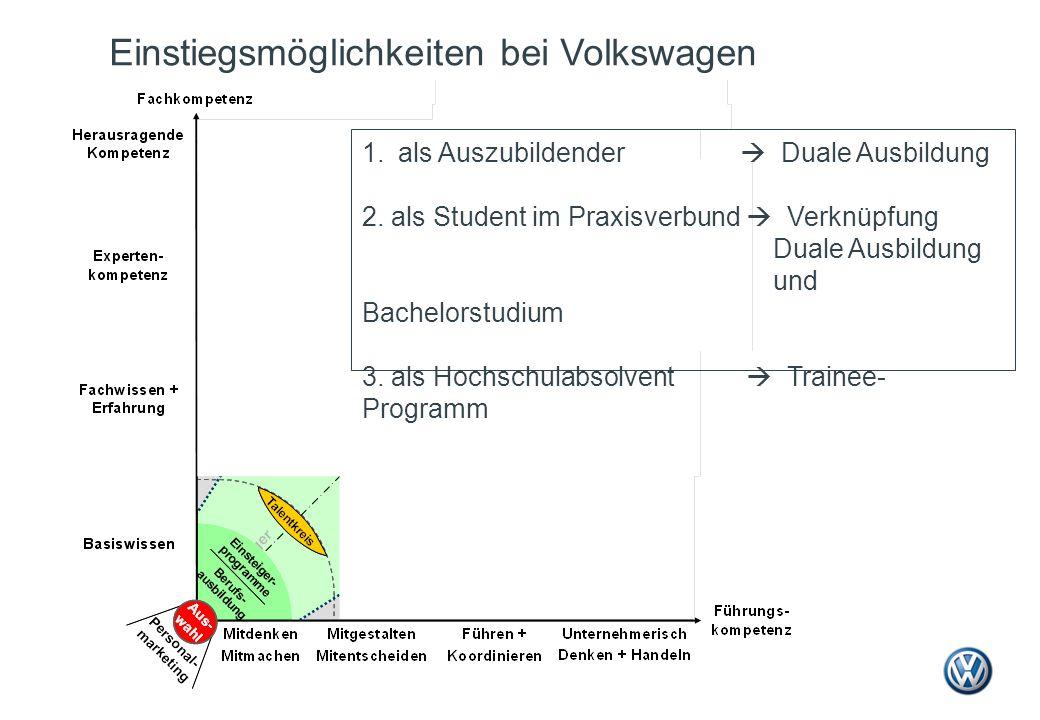 Einstiegsmöglichkeiten bei Volkswagen 1.als Auszubildender  Duale Ausbildung 2. als Student im Praxisverbund  Verknüpfung Duale Ausbildung und Bache